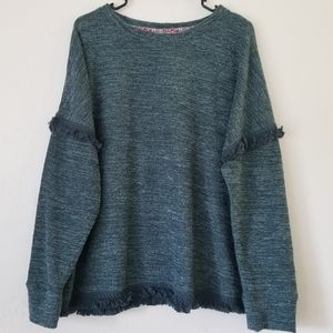 Knox Rose Sweaters - Green sweater with fringe details